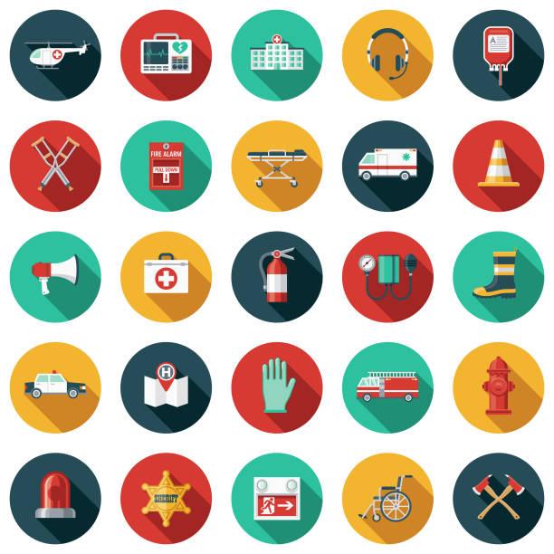 notdienste-flaches design-icon-set mit seite schatten - flat design symbole stock-grafiken, -clipart, -cartoons und -symbole
