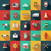 Emergency Services Flat Design Icon Set with Side Shadow