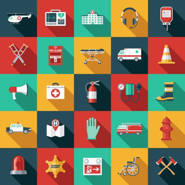 acil durum hizmetleri düz tasarım icon set yan gölge ile - first responders stock illustrations