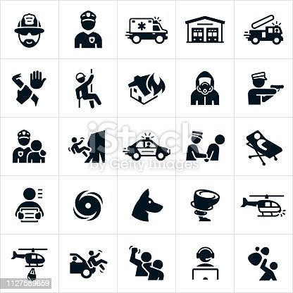 A set of emergency services icons. The icons represent law enforcement, fire fighting, search and rescue and EMS themes and include a fire fighter, police officer, ambulance, fire station, fire truck, crime, rescuer, house fire, hazmat, police car, arrest, person on stretcher, criminal, hurricane, search dog, rescue dog, tornado, search helicopter, dispatch and show scenes of emergency and danger.