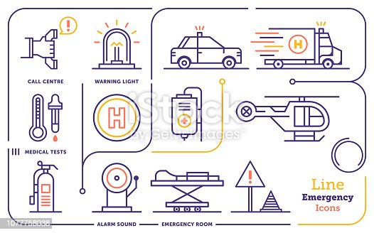 Line icon vector illustrations of emergency services, rescue services, organizations, public safety.