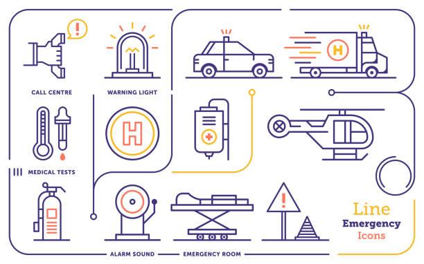 illustrations, cliparts, dessins animés et icônes de services d'urgence ligne icon set - bureau police