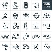 A set of emergency services icons that include editable strokes or outlines using the EPS vector file. The icons include theft, robbery, police officer, law enforcement, stop light, cross walk, fireman, scales of justice, fire truck, criminal, search and rescue, siren, warning, traffic, arrest, drugs, police car, cb radio, helicopter, ambulance and other public safety related themes.