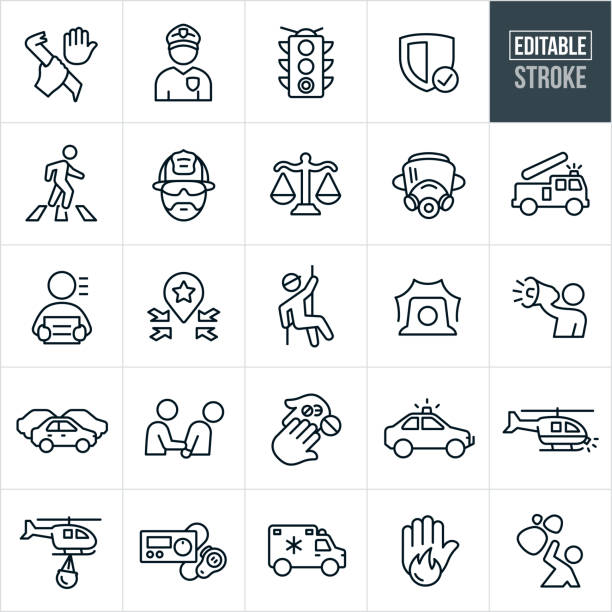 emergency services thin line icons - editable stroke - traffic stock illustrations