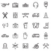 Emergency Services Thin Line Outline Icon Set