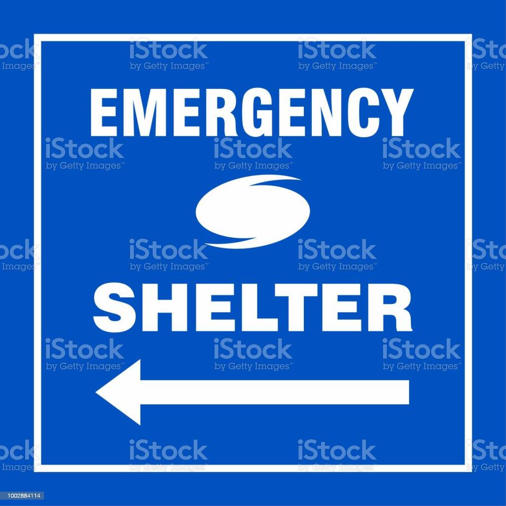Emergency Shelter Left Safety Side Sign Board Hurricane Indication