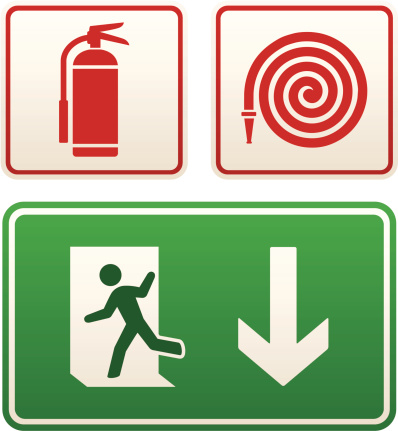 Emergency signs: exit sign, fire extinguisher and hose