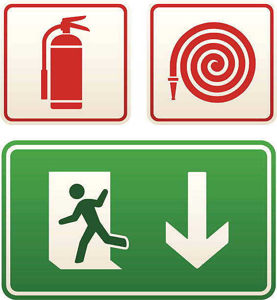 Emergency signs: exit sign, fire extinguisher and hose vector art illustration