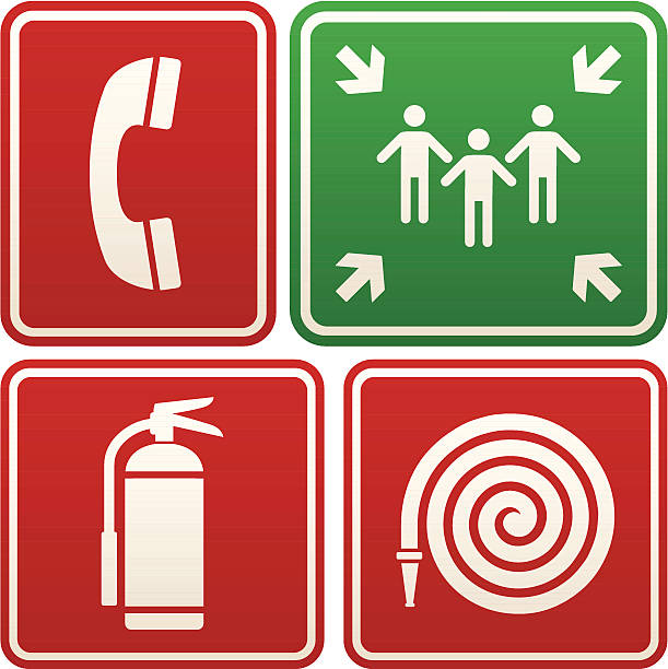 Emergency signs: telephone, meeting point, fire extinguisher and hose Emergency signs: emergency phone, meeting point, fire extinguisher, fire hose. fire hose stock illustrations