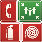 Emergency signs: telephone, meeting point, fire extinguisher and hose