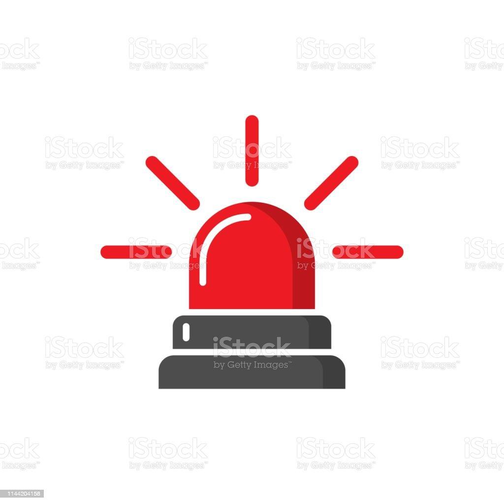 Emergency sirene icoon in platte stijl. Politie alarm vector illustratie op witte geïsoleerde achtergrond. Medisch alert business concept. - Royalty-free Alarm vectorkunst