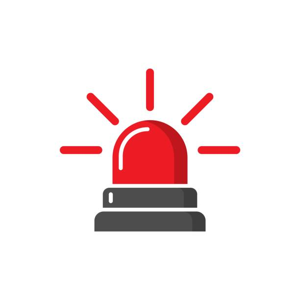 Emergency siren icon in flat style. Police alarm vector illustration on white isolated background. Medical alert business concept. Emergency siren icon in flat style. Police alarm vector illustration on white isolated background. Medical alert business concept. accidents and disasters stock illustrations