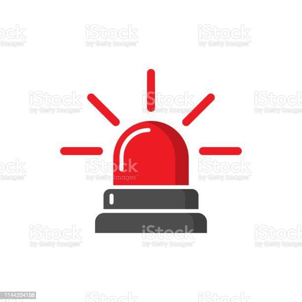 Emergency Sirene Icoon In Platte Stijl Politie Alarm Vector Illustratie Op Witte Geïsoleerde Achtergrond Medisch Alert Business Concept Stockvectorkunst en meer beelden van Alarm