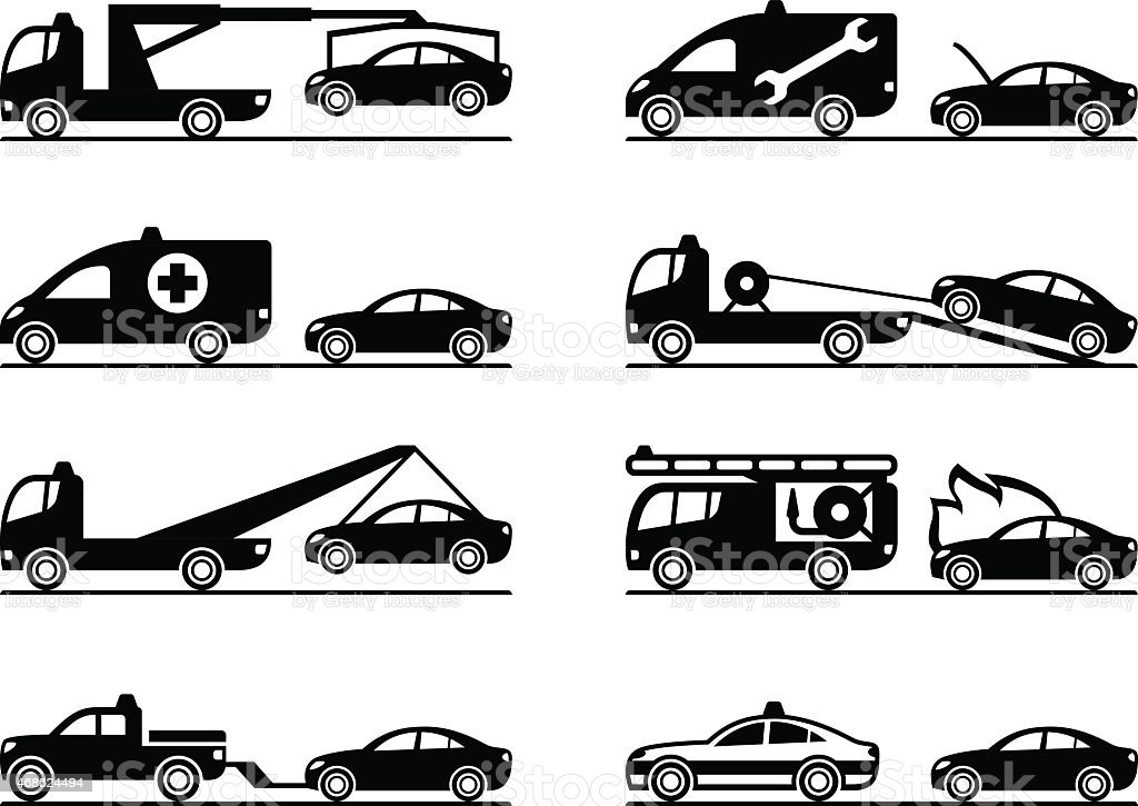 Emergency situations on road vector art illustration