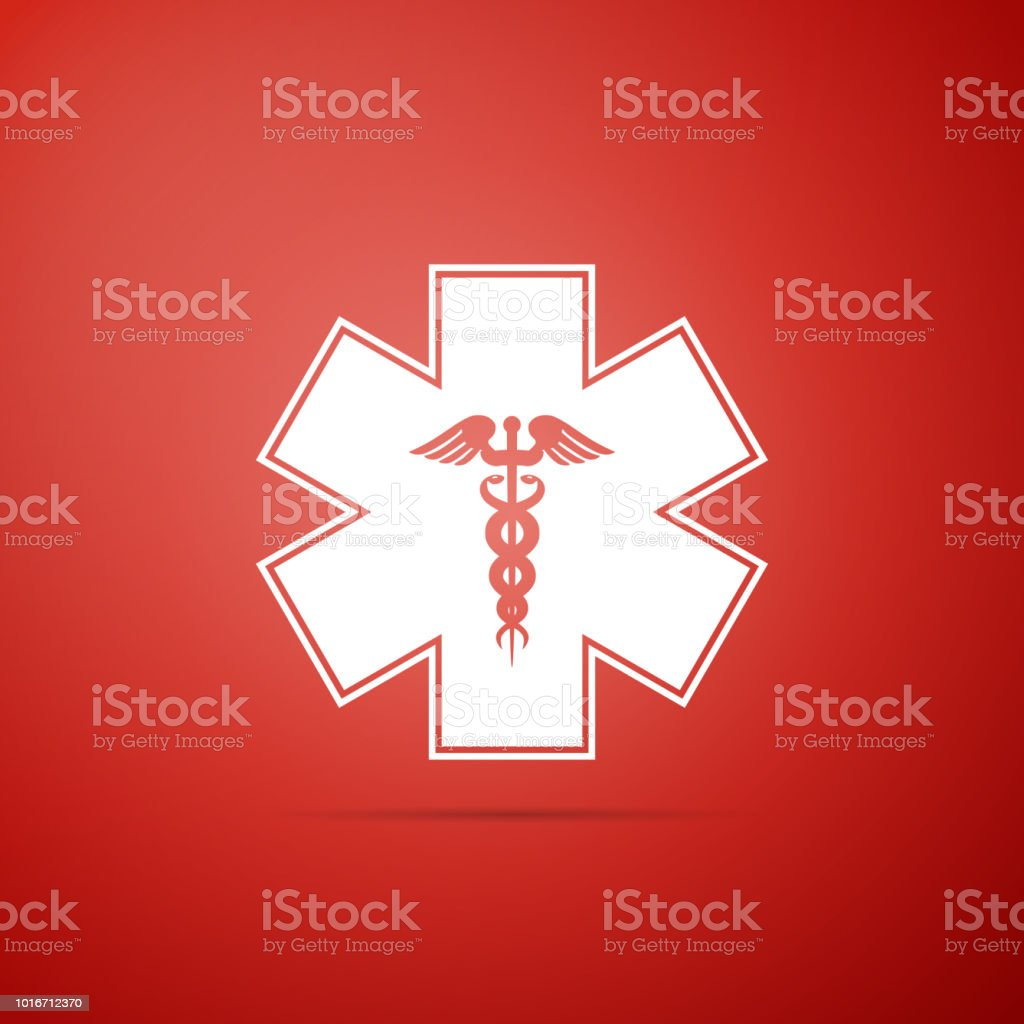 Emergency Star Medical Symbol Caduceus Snake With Stick Icon