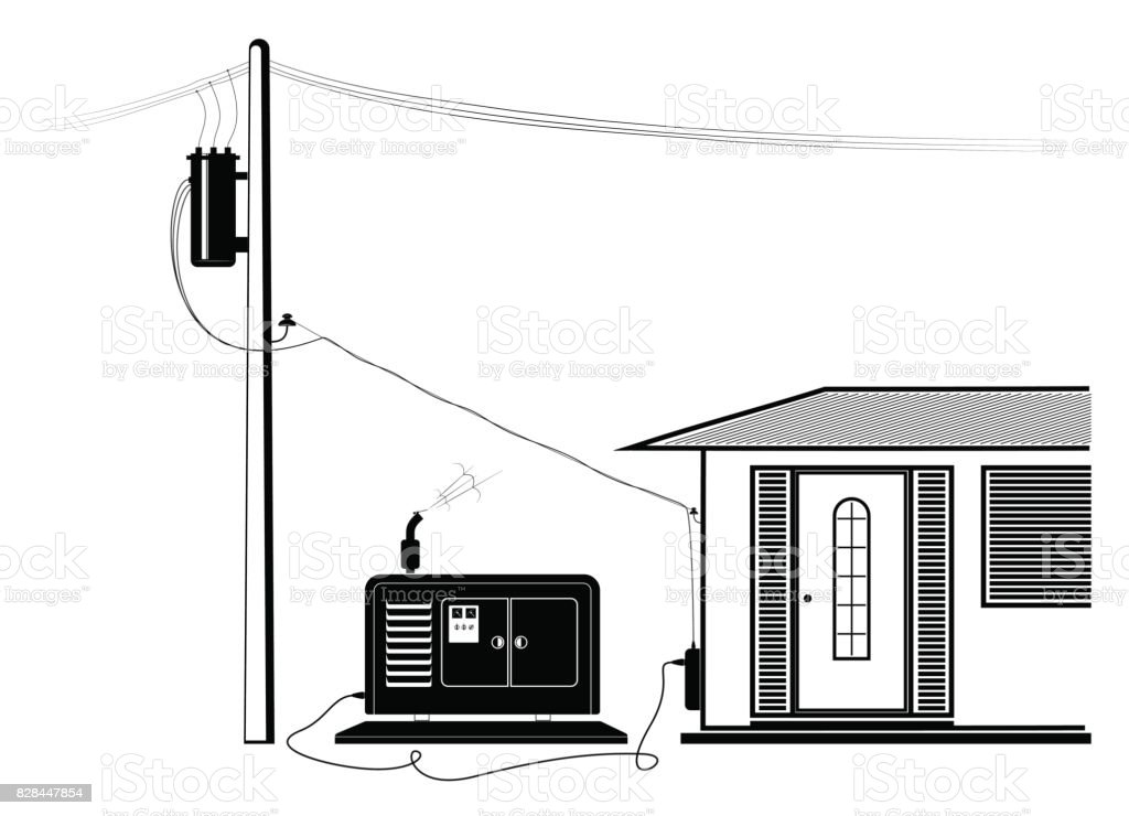Emergency supply of the house with electricity from an autonomous generator. Power outage. vector art illustration