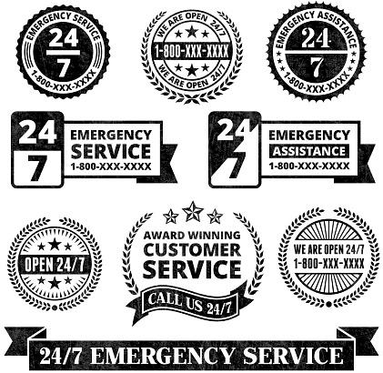 Emergency Support 24 7 Badges Black and White Grunge Set
