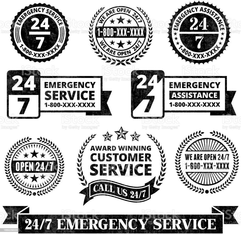 Emergency Support 24 7 Badges Black and White Grunge Set vector art illustration