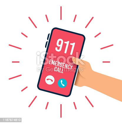 Emergency 911 police fire department telephone call.