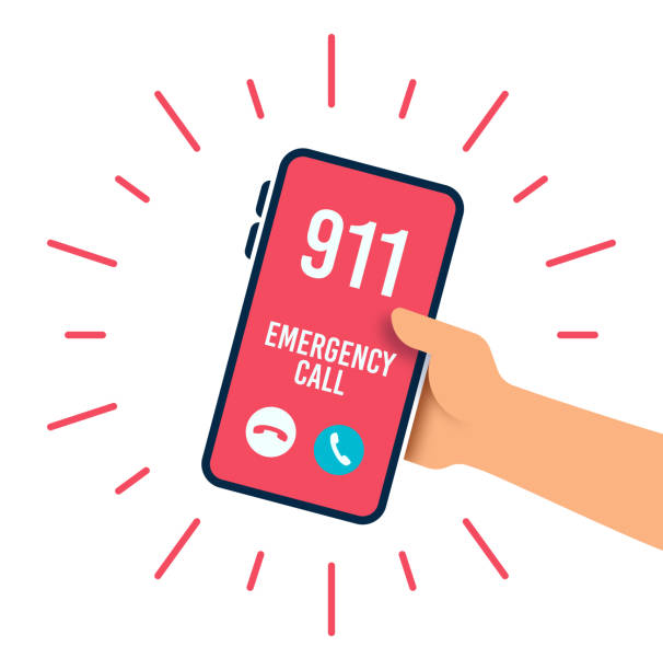 Emergency Telephone Call Emergency 911 police fire department telephone call. accidents and disasters stock illustrations
