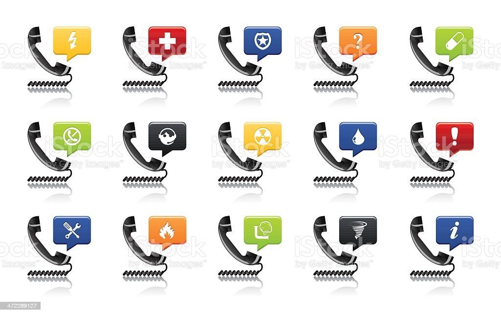 Emergency Telephone Icon Set vector art illustration