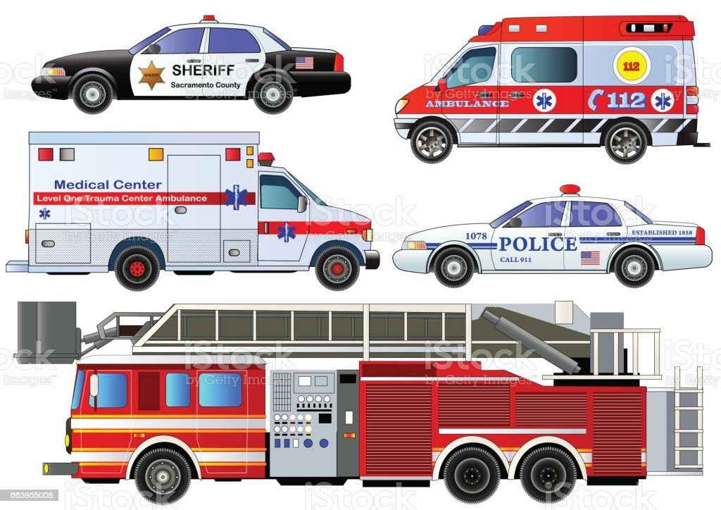 Emergency transport icons set. Vector set, isolated vector art illustration