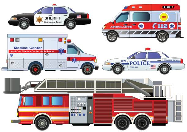 Emergency transport icons set. Vector set, isolated Emergency transport icons set. Vector set, isolated on white. Fire truck, ambulance vans, police cars. Flat style police car stock illustrations