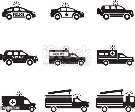Emergency transportation icon set. Vector illustration. eps10