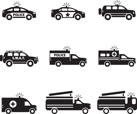 Emergency transportation icon set. Vector illustration.