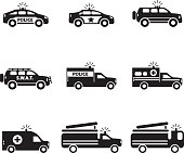 Emergency transportation icon set. Vector illustration. eps10