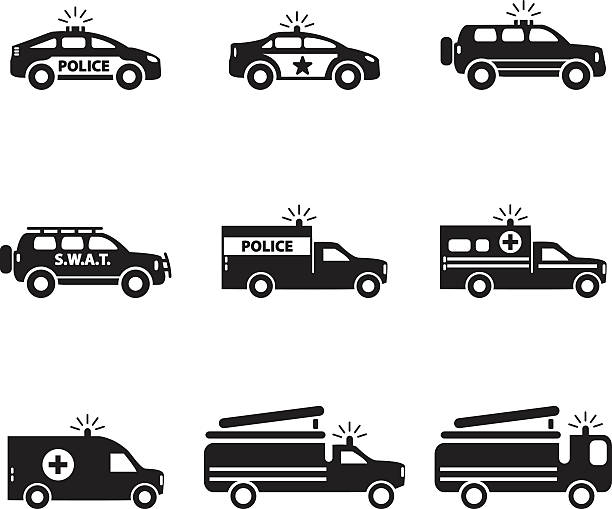 Emergency transportation icon set. Vector illustration. vector art illustration