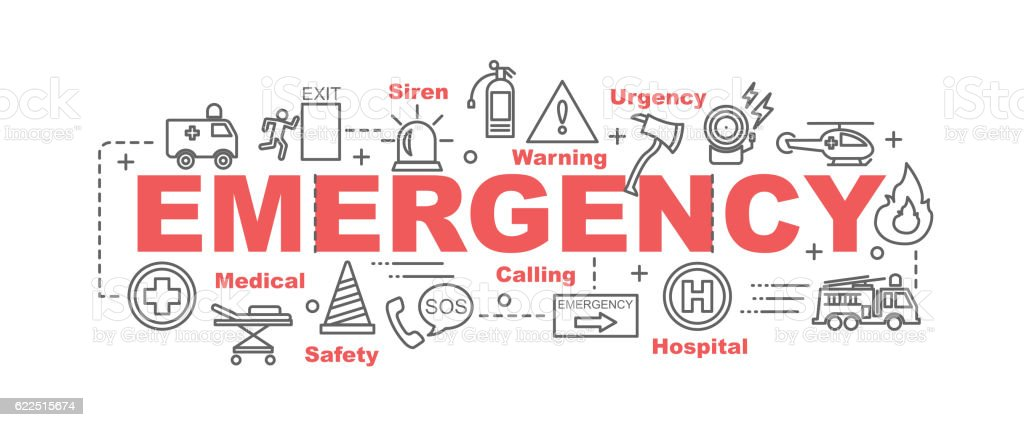 emergency vector banner vector art illustration