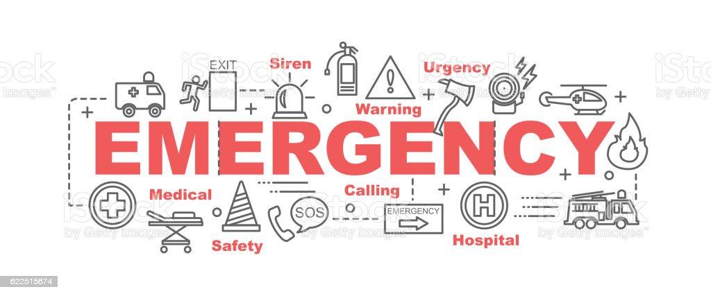 emergency vector banner vector art illustration