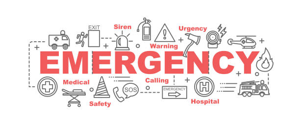 emergency vector banner emergency vector banner design concept, flat style with thin line art emergency icons on white background accidents and disasters stock illustrations