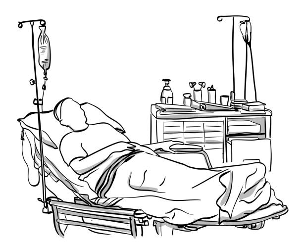 emergency Patient lying down in a hospital room bedroom clipart stock illustrations