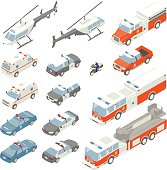 Spot illustrations of emergency vehicles in isometric projection include front and rear views of an ambulance, highway patrol car, police car, police SUV, and police helicopter. Also included are a police motorcycle, and a series of fire trucks (pickup, pump and ladder trucks). Flat style illustrations have a unified color palette and are displayed on a white background.