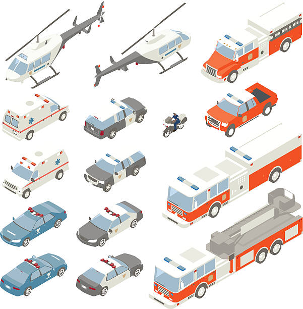 Emergency Vehicle Spot Illustrations vector art illustration