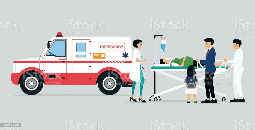 Emergency vehicles vector art illustration