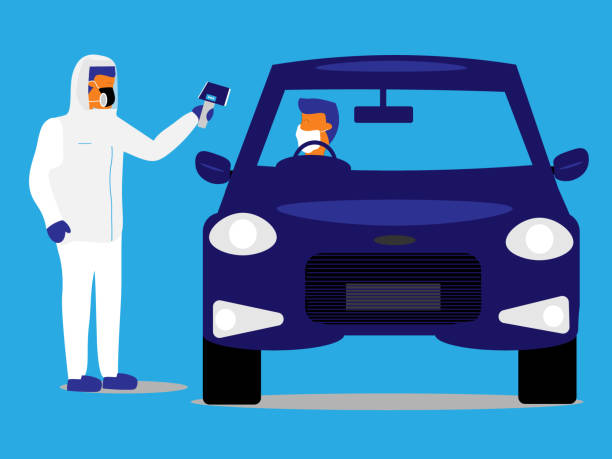 bildbanksillustrationer, clip art samt tecknat material och ikoner med räddningsarbetare tar temperaturen på en förare vid en drive-through testanläggning. - corona test