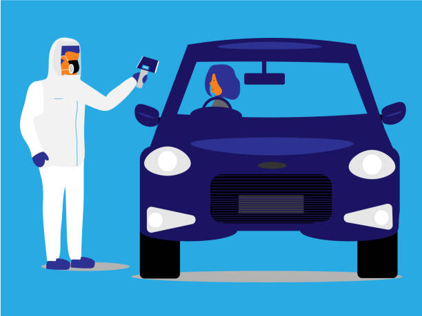 Emergency worker takes the temperature of a driver at a drive-through testing facility. Emergency worker in protective gear takes temperature of a woman in a car at a drive-through testing facility. medical test stock illustrations
