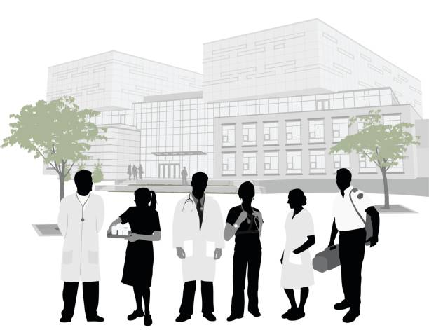 emergency workers hospital - architecture clipart stock illustrations