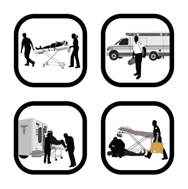 ilustraciones, imágenes clip art, dibujos animados e iconos de stock de emergencycare - técnico en urgencias médicas