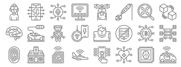 emerging technology line icons. linear set. quality vector line set such as autonomous car, heart, aeroplane, fingerprint, bitcoin, robot, blockchain app, drone delivery, g emerging technology line icons. linear set. quality vector line set such as autonomous car, heart, aeroplane, fingerprint, bitcoin, robot, blockchain app, drone delivery, g augmented reality sustainable stock illustrations