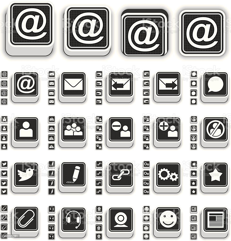 3D E-Messaging Icons royalty-free stock vector art