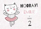 vector template of a children birthday invitation card, cute dancing cat, horizontal orientation