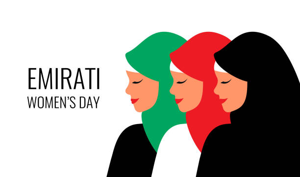 阿聯酋婦女節賀卡與三個年輕的阿拉伯婦女穿著五顏六色的頭巾 - emirati woman 幅插畫檔、美工圖案、卡通及圖標