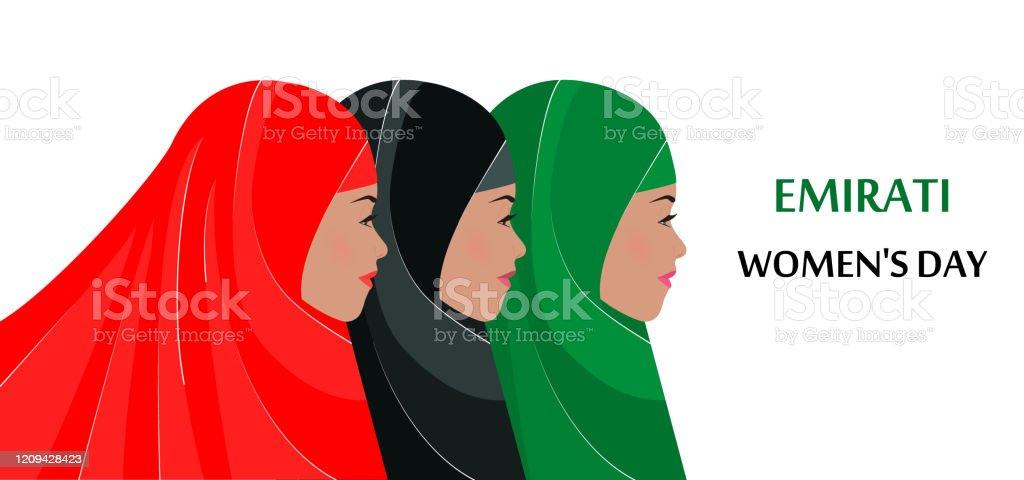 Dzień Kobiet Emiratów. Trzy młode dziewczyny w hidżabach. Płaska ilustracja wektorowa. Plakat, transparent, gratulacje z okazji Międzynarodowego Dnia Kobiet. Koncepcja święta narodowego w Emiratach 28 sierpnia - Grafika wektorowa royalty-free (Abaja - ubranie)
