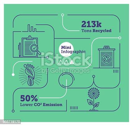 Vector Infographic Line Design Elements for Waste Management