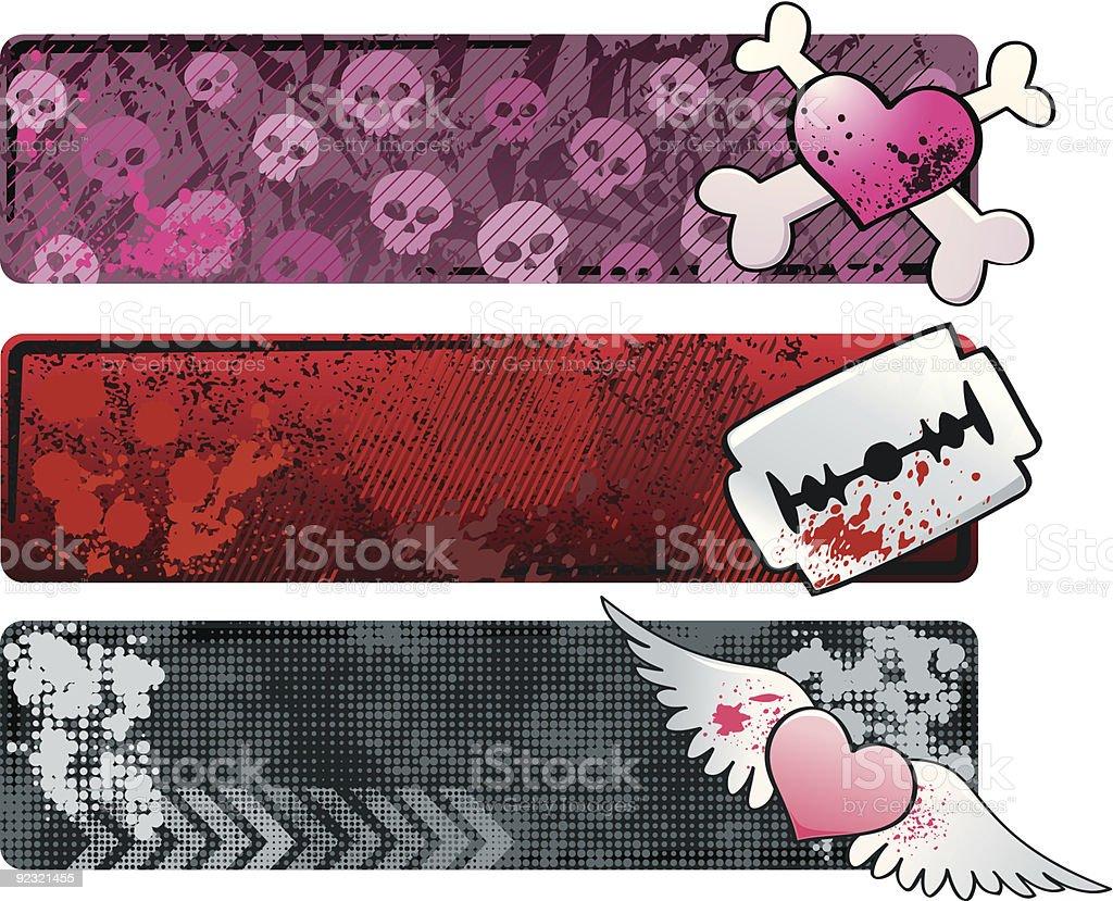 Emo Banners vector art illustration