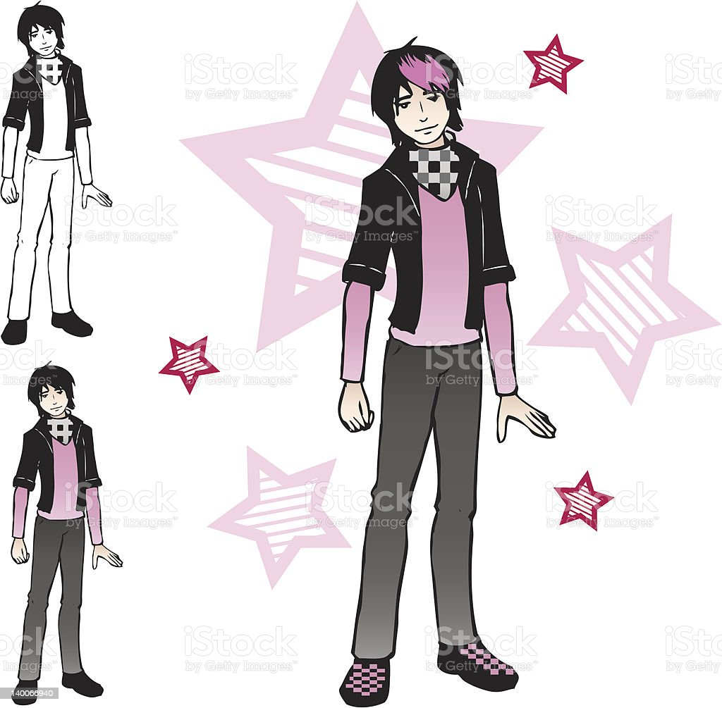 Emo boy vector art illustration